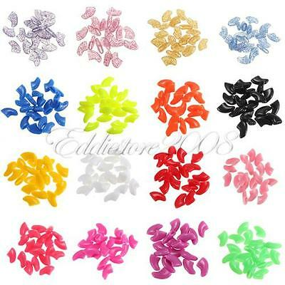 100 PCS Soft Cat Pet Nail Caps Claws Paws Off Control + 5 Adhesive Glue ZX003B
