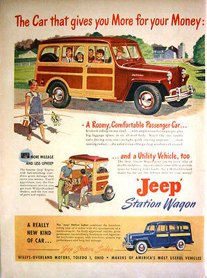 1949 WILLYS JEEP STATION WAGON - PASSENGER CAR - UTILITY VEHICLE PRINT AD!