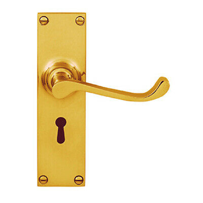 Delf Door Handle 3017PB Victorian Curved Lever Lock On Long Plate Polished Brass