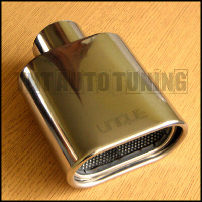 Sports Chrome Stainless Steel Exhaust Tip - Universal Flat Square Tail Pipe Trim