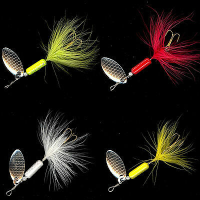 (24) 1/16 oz Cocktail Spinners Rooster Tail Style Lures - In-Line Spinner