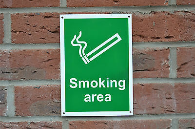 Smoking Area Shelter Designated Silk Screen Printed Sign/Sticker/Pre-Drilled