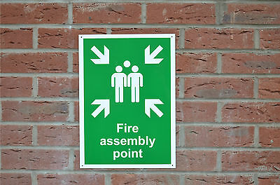 Fire Assembly Point Emergency Evacuation Plastic/Sticker/Foamex/Pre-Drilled Sign