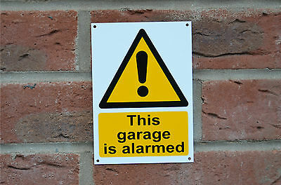 This Garage Is Alarmed Security Plastic Sign Or Sticker Choice Of Size A6 Or A5
