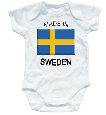 Naughtees Clothing Babygrow Made In Sweden White Cotton Infant Babysuit Baby New