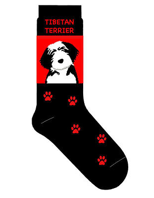 Tibetan Terrier Dog Socks Lightweight Cotton Crew Stretch Egyptian Made