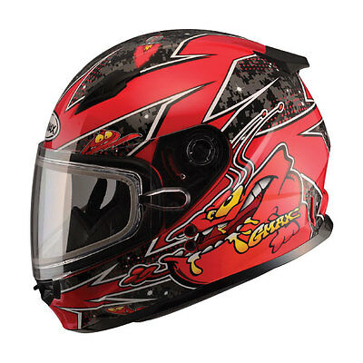 New Youth Snow Helmet Alien Red Gmax Gm49Y Child Kids Double Lens Shield Dot
