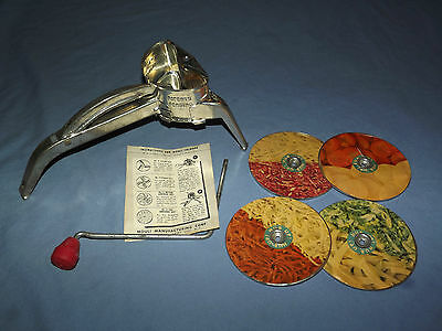 VINTAGE KITCHEN 1940-50S MOULI SHREDDER with  4 DISCS
