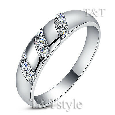 T&T 18K White Gold GP Engagement Wedding Ring Size 5 (RF39)