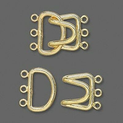 Hook-and-Eye Large Gold Plated 3-strand Jewelry Clasps  2 sets