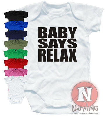 Naughtees Clothing Babygrow Baby Says Relax Print Cotton Retro Babysuit New