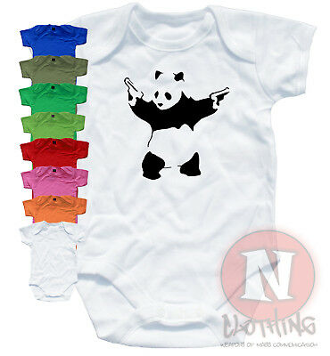 Naughtees Clothing Babygrow Banksy Pandamonium Print Cotton Panda Babysuit New
