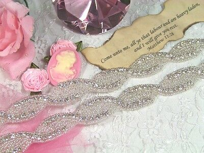 "XR21 ( Pieced every 35"" ) Bridal Braided Silver Beaded Crystal Rhinestone Trim"