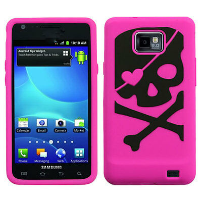 For Samsung Galaxy S II 2 S959G Rubber SILICONE Skin Case Cover Pink Blk Skull