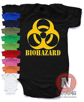 Naughtees Clothing Biohazard Funny Babygrow Baby Suit vest Cotton shower gift