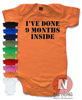 Naughtees Clothing I've Done 9 Months Inside Funny Babygrow Baby Suit vest