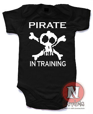 Naughtees Clothing Pirate In Training Funny Cute Babygrow Baby Suit vest