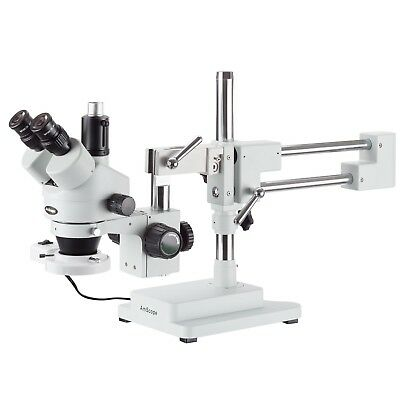 AmScope 7X-90X Trinocular Stereo Boom Zoom Microscope + Fluorescent Light