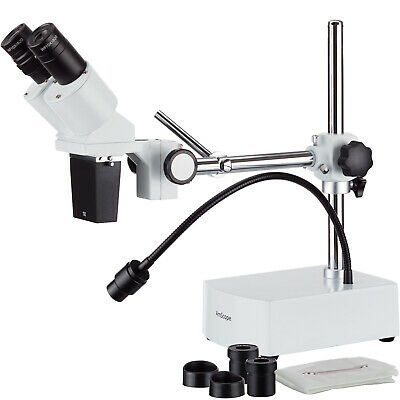 10X-15X Binocular LED Stereo Microscope Boom Arm with Gooseneck Light