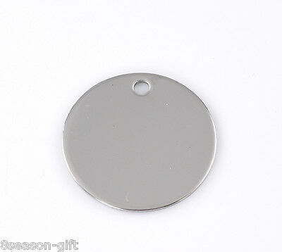 "10PCs Silver Tone Round Stainless Steel Tags Pendants 30mm(1 1/8"") Dia"