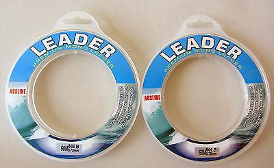 2 x 50m spool,60LB Premium Monofilament Fishing Leader,Fishing Line Tackle