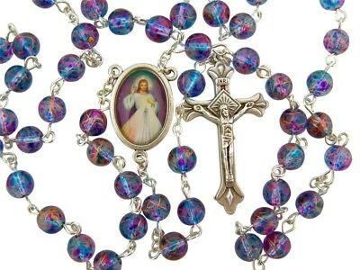 "Catholic Gift 7MM Blue Purple Glass Bead Divine Mercy Center 18"" Rosary Necklace"