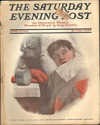 APRIL 27 1912 SATURDAY EVENING POST - magazine - ALARM CLOCK