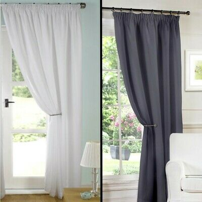 "Luxury Pair of Ready Made White Lined Voile Pencil Pleat 3"" Tape Top Curtains"