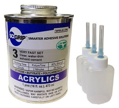 Weld-On 3 Acrylic Adhesive (Pint) and 3-Pack Applicator Bottles