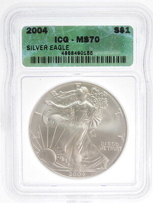 2004 $1 American Liberty Silver Eagle 1 Oz Fine US Mint Coin ICG MS 70