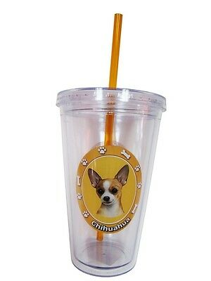 CHIHUAHUA Tan Dog Double Wall Eco Friendly 16 oz Drink Tumbler Cup