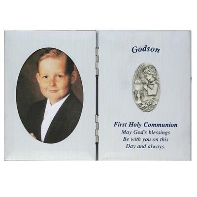First Holy Communion Godson Gift 5 x 7 Silver P Picture Photo Keepsake Plaque