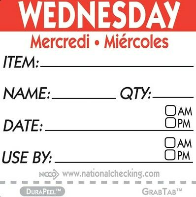 "Roll of 500 WEDNESDAY 2"" x 2"" Removable Trilingual Food Rotation Labels"