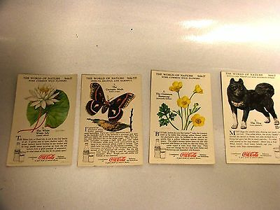 VINTAGE LOT OF 4 COCA COLA CARDS DOG BUTTERCUP WATER LILY MOTH WORLD OF NATURE
