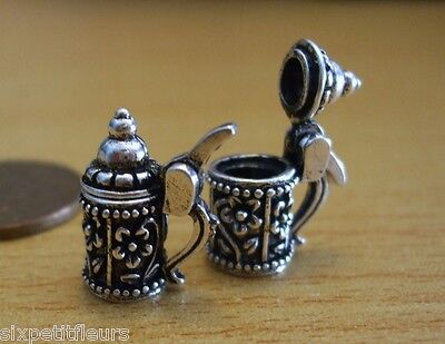 Miniature silver opening tankard 1:12th scale dolls house inn pub flagon UK