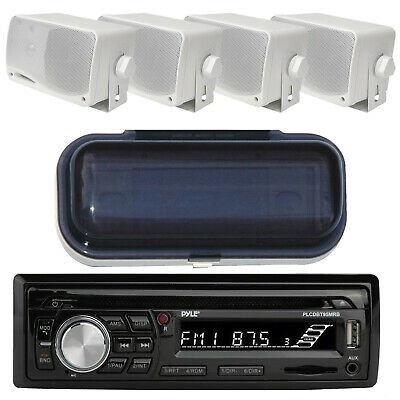 "200Watt  Marine Boat In Dash CD MP3 Aux Stereo Radio 4 3.5"" Box Speakers +Cover"