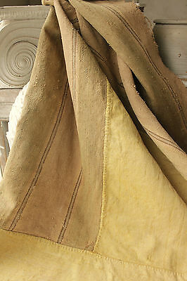 Antique French raw silk + linen Antique Early 18th century textile c1730 's
