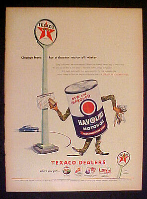 1946 Texaco Sky~Fire~Chief Gas~Havoline Motor Oil~Marfak Lubrication Print Ad