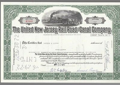 [35711] 1971 United New Jersey Railroad & Canal Company Stock Certificate
