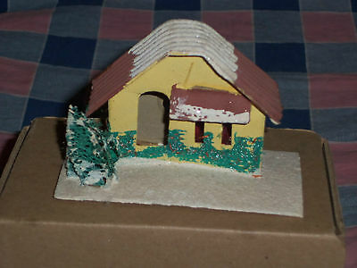 "a. Vintage Japan Christmas House Building 2 3/8"" High Door Window Cover Missing"
