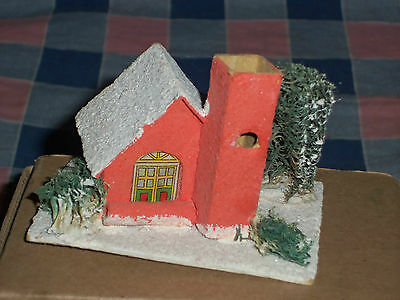 c. Vintage Japan Christmas House Building 2 3/8 Inch High  Door Cover Present