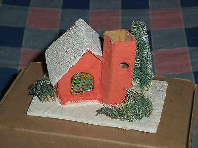 i. Vintage Japan Christmas House Building 2 3/8 Inch High  Door Cover Crooked