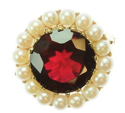 Ladies 14K Yellow Gold Ruby Pearl Estate Pin 87007