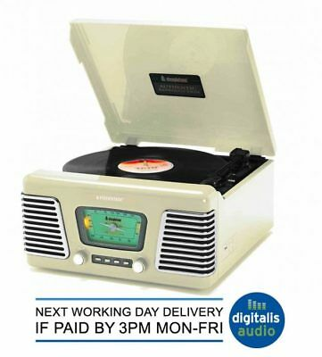 Cream 3 Speed Record Player/Turntable Steepletone Roxy 1 Retro USB AM FM Radio