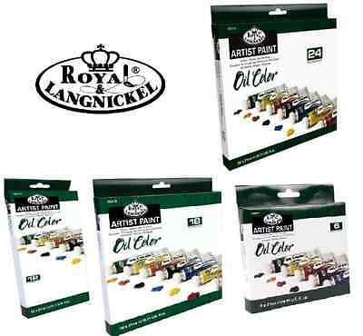 ROYAL LANGNICKEL SETS OF LARGE 21ml TUBES OF OIL COLOUR ARTIST PAINTS & BRUSHES