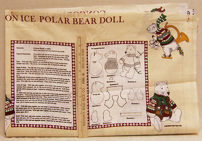 Concord Holiday On Ice Polar Bear Doll Fabric Pattern Instructions Materials