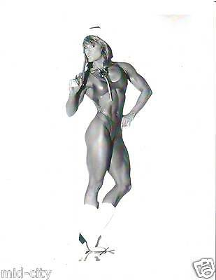 CORY EVERSON Female Bodybuilding Muscle With Gun Photo B&W