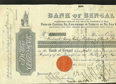 Action Banque  Bank Of Bengal 1876 Inde  Rare