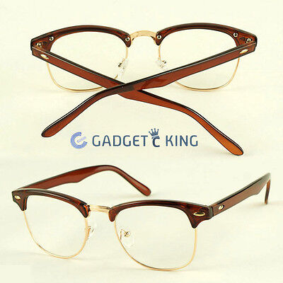 Half Rimmed Camel/brown Geek Glasses Retro Mens Women Vintage Clear Lens Fashion
