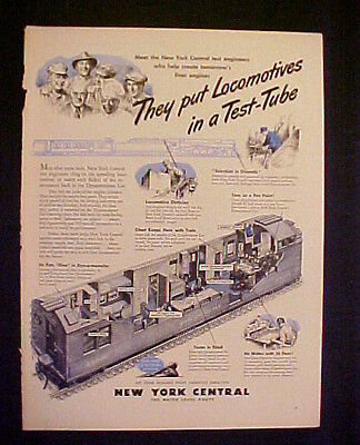"""1945 WWII New York Central Railroad Train~Test Tube~Military LG 10.5 x 14"""" AD"""